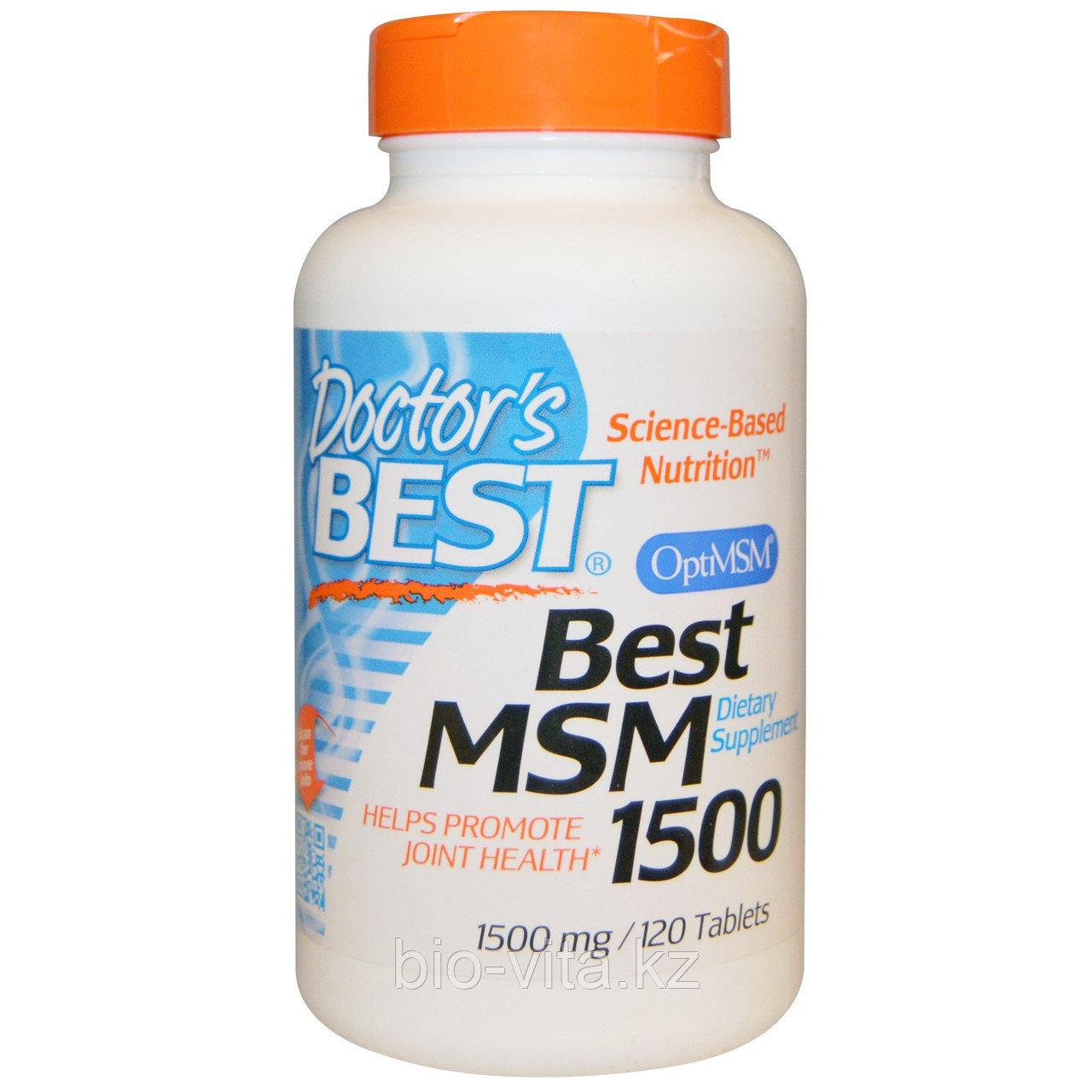 МСМ( MSM) 1500 (метилсульфонилметан), 1500 мг, 120 таблеток Doctor's Best,