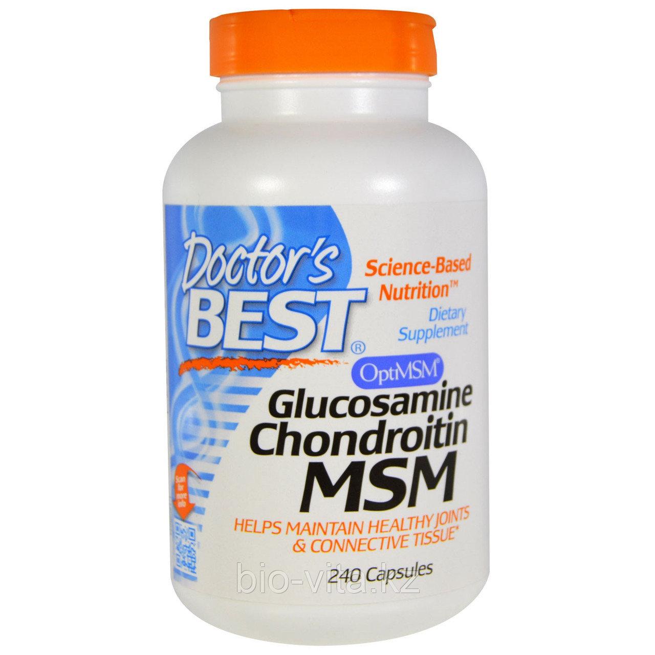 Глюкозамин и хондроитин с MСM, 240 Capsules Doctor's Best