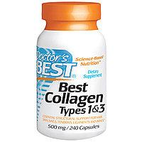 , Лучший коллаген типов 1 и 3, 500 мг, 240 капсул  Doctor's Best, фото 1