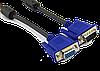 """Удлинитель VGA кабель """"LAN"""" M/F +переходник (M/M), L=1.5м, black, 2 феррит. кольца"""