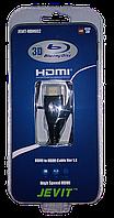 Кабель HDMI - HDMI JEVIT-HDMI02, 1.8m, v1.4,  gold, черный, оплетка