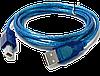 Кабель USB AM- BM LAN  5м для принтеров и др. USB2.0, ферритовое кольцо, экран, синий.