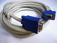 VGA кабель  M/M   1.5м,  2 феррит. кольца,белый/серый + синий коннектор