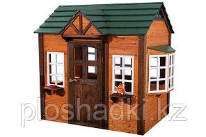 Деревянный домик «Амстердам», с крышей, дверью, окнами, с раковиной внутри, звонком