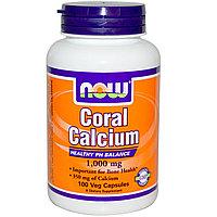 Кальций из кораллов, (для детей и взрослых) 1000 мг, 100 капсул на растительной основе.  Now Foods, фото 1