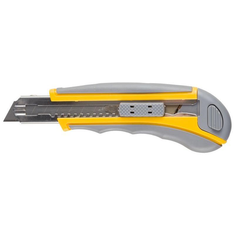"""Нож STAYER """"MASTER"""" двухкомпонентный корпус,серо-желтый,серая кнопка,автостоп,допфиксатор,кассетой на 5лезвий,"""