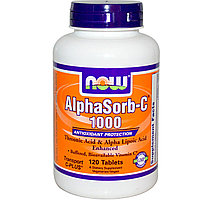 Витамин С (1000мг.)+треоновой и альфа-липоевая кислота. Now Foods, AlphaSorb-C 1000, 120 таблеток., фото 1