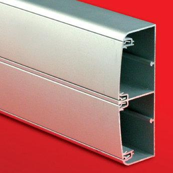 Алюминиевый кабель-канал 140х50 (с 2 крышками), цвет серебристый