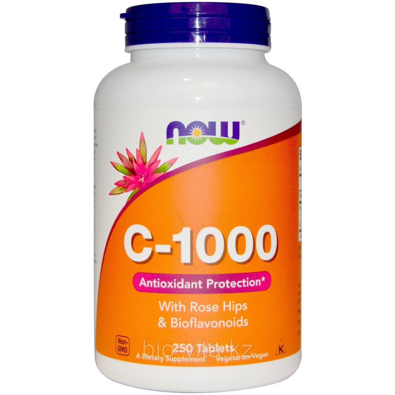 Витамин С с шиповником. С замедленным высвобождением.  Now Foods, C-1000, 250 табл.