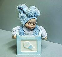 """Фигурка -сувенир """"Малыш- зайчик"""" (голубая), 16см"""