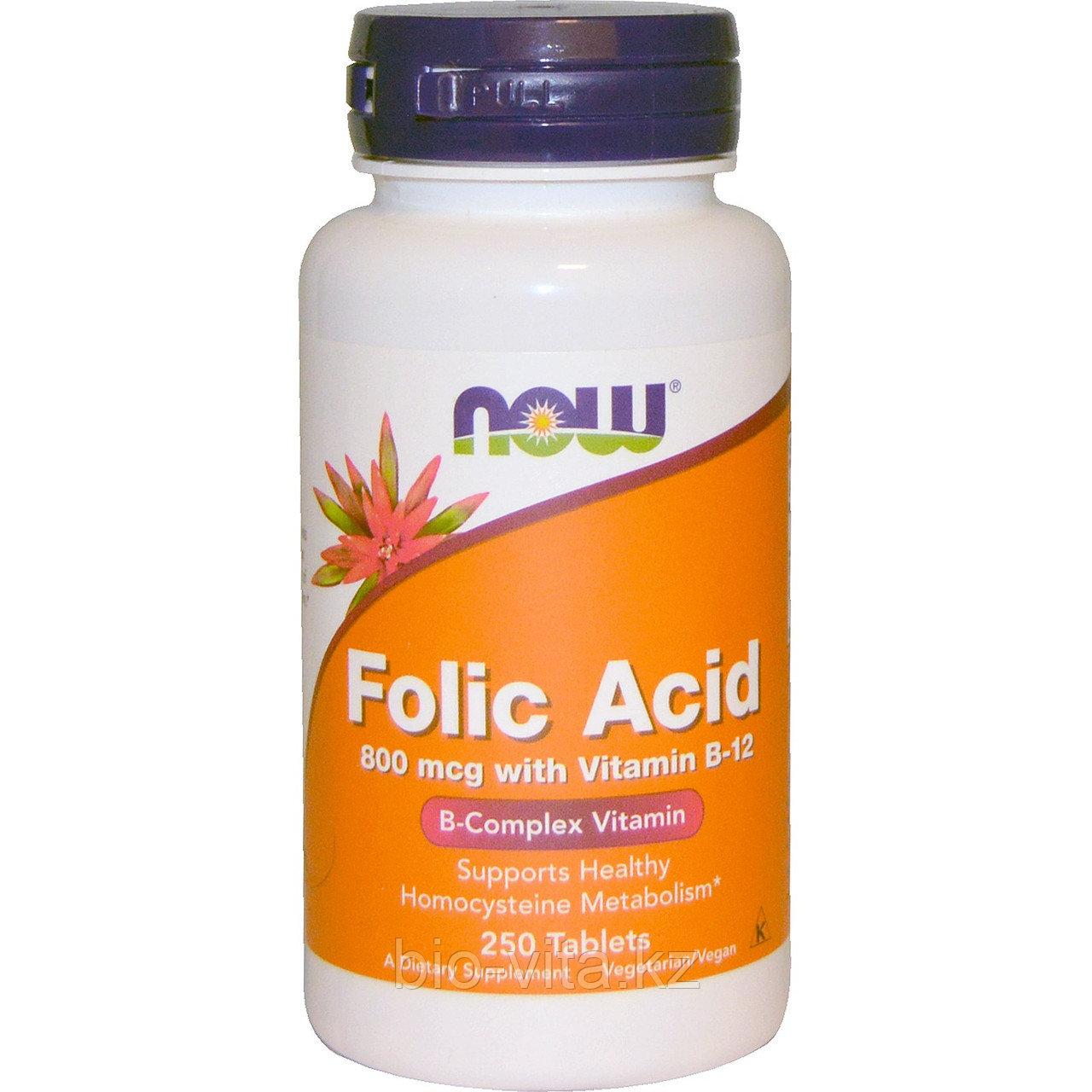 Фолиевая кислота с витамином B12, 800 мкг, 250 таблеток. Now Foods