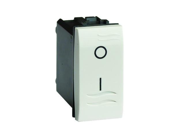 Двухполюсный выключатель с подсветкой, белый, 1мод.