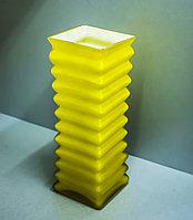 """Декоративная настольная ваза """"Гофрированная"""" (стекло,желтая),23см"""