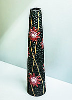 """Декоративная настольная ваза """"Красные цветы"""" (керамика,черная),33см"""