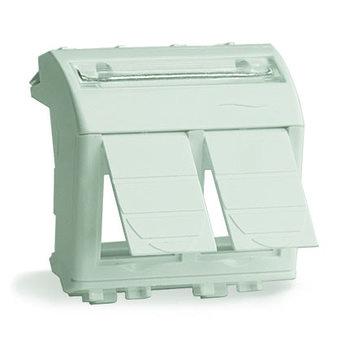 Адаптер для двух информационных разъемов Keystone, белый, 2мод.