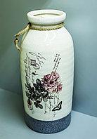 """Декоративная настольная ваза """"Розы"""" (керамика,белая),32см"""