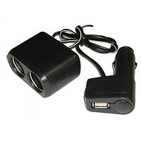 Авто-разветвитель прикуривателя (+USB 500 mA) на 2 гнезда WF-0097, фото 1