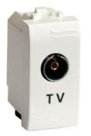 TV розетка с согласующим сопротивлением (универсальная), черная, 1модуль