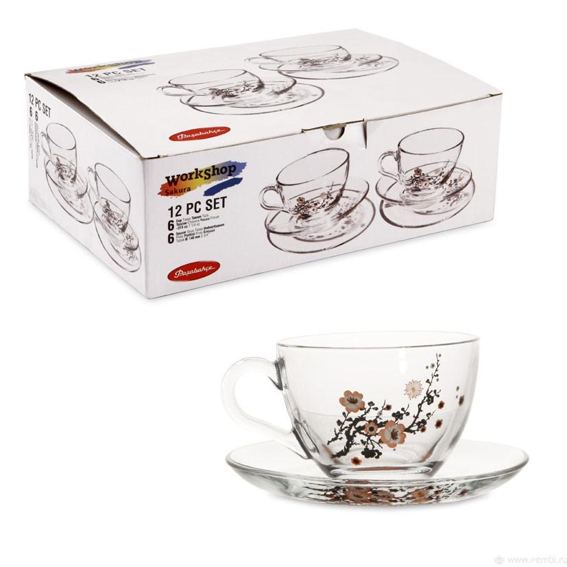 Чайный сервиз Pasabahce Сакура 215 мл, 12 пр (97948)