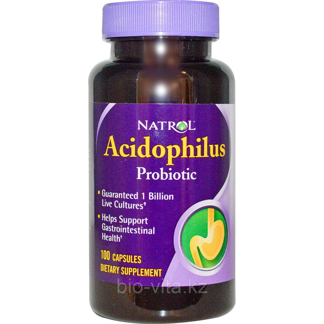 Пробиотик ацидофилус 1 млрд. ацидофильных бактерий, 100 капсул.  Natrol