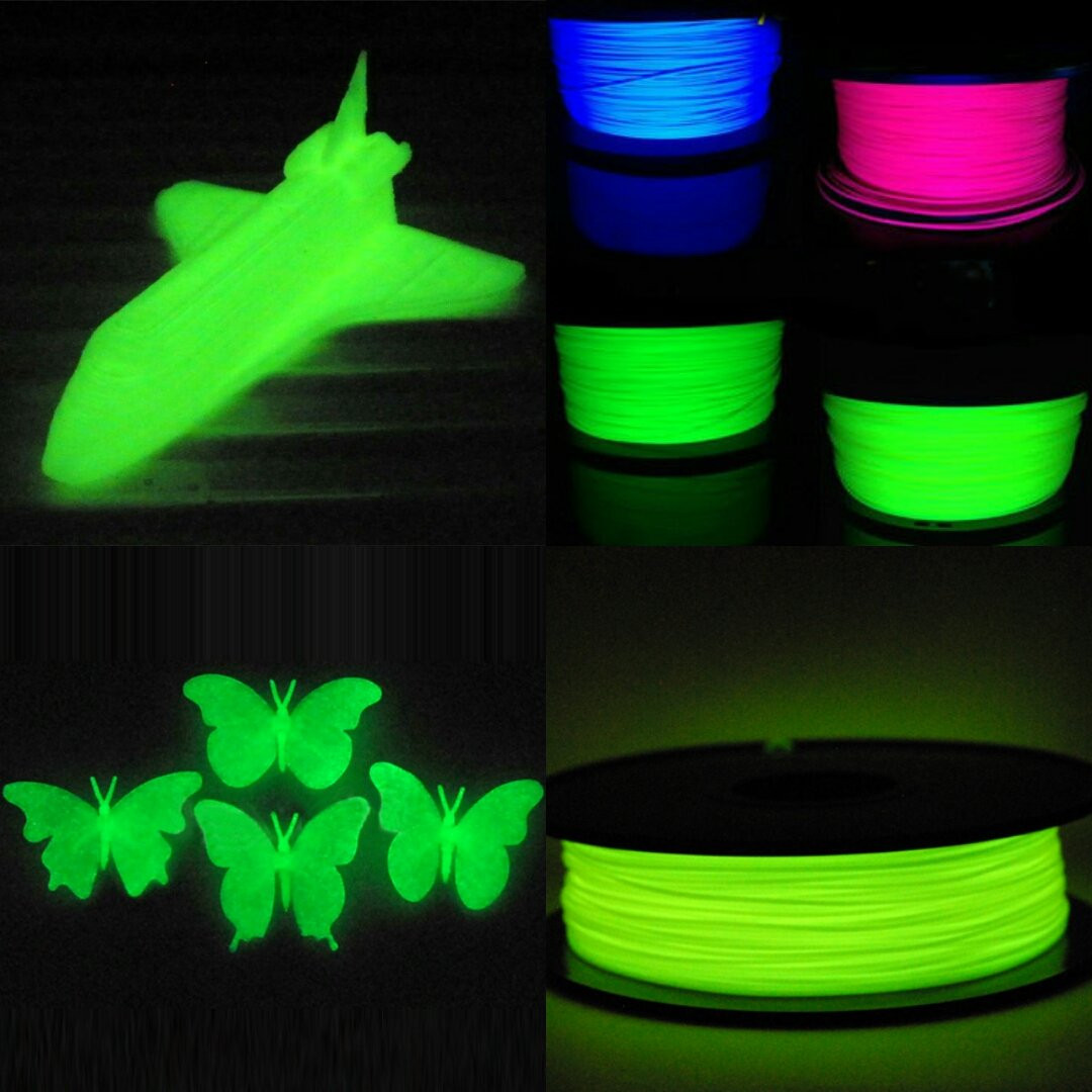 Набор пластика светящегося в темноте 20м ABS/PLA (зелёным или синим)