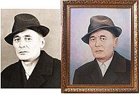 Портрет по черно-белой фотографии, выполненный в цвете. Холст, масло.