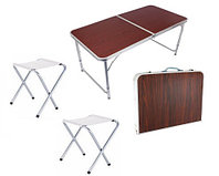 """Раскладной стол и стулья для пикника в чемодане FOLDING TABLE """"90* 60* 70 см"""" (туристический столик) темный"""