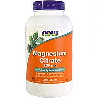 Магний цитрат 200 мг. 250 таблеток. Now Foods