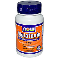 Мелатонин. Быстрое высвобождение.  3 мг, 180 пастилок. Now Foods