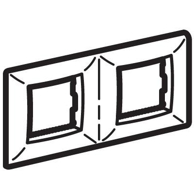 Рамка на 2+2 модуля (двухместная), черный металлик, RAL7021