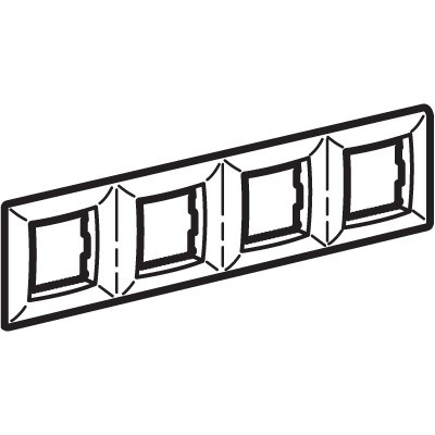 Рамка на 2+2+2+2 модуля (четырехместная), черный металлик, RAL7021