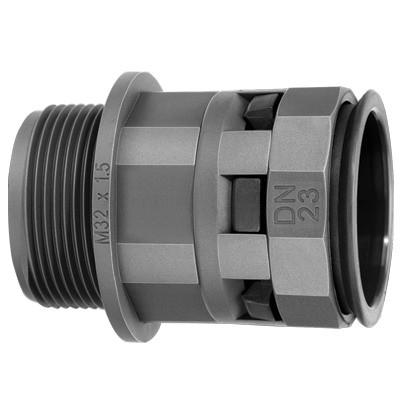 Муфта труба-коробка DN 17 мм, М20х1,5, полиамид, цвет черный