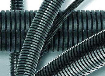 Труба гофр. DN48мм, ПВ-0, Dвн 47,4 мм, Dнар 54,5 мм, полиамид 6, цвет тёмно-серый, с протяжкой