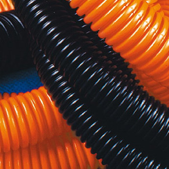 Труба ПНД гибкая гофр. д.32мм, тяжёлая без протяжки, 25м, цвет оранжевый