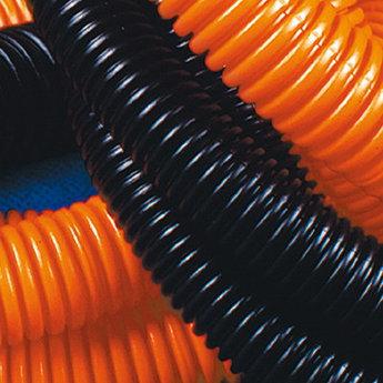 Труба ПНД гибкая гофр. д.50мм, тяжёлая с протяжкой, 15м, цвет оранжевый