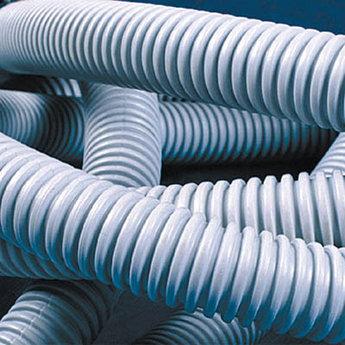 Труба ПВХ гибкая гофр. д.20мм, тяжёлая с протяжкой, 100м, цвет серый