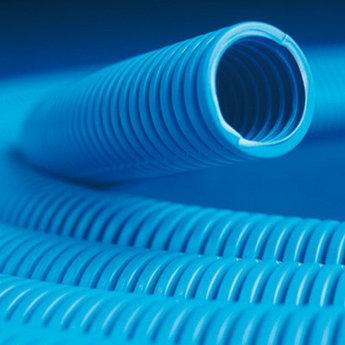 Труба ППЛ гибкая гофр. д.32мм, сверхтяжёлая с протяжкой, 25м, цвет синий