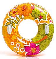 Надувной детский круг для плавания с ручками INTEX оранжевый (97 cm)