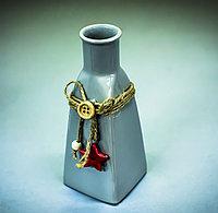 Бутылка декоративная (керамика, серая),6х15,5см