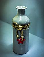 Бутылка декоративная (керамика, серая),7х20см