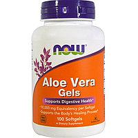 Алое вера. Aloe Vera Gels, 100 Softgels. Now Foods