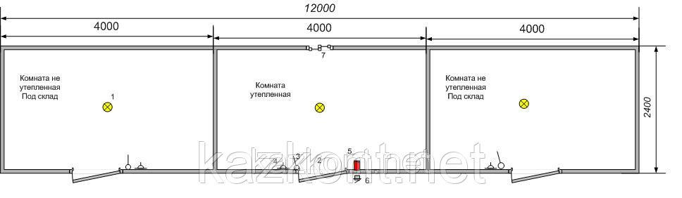 Контейнер 40 ф под склад, бытовка 12,0*2,4*2,6м