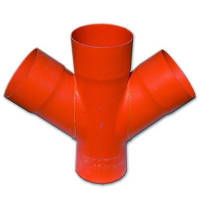 Соединение для четырех двустенных труб,45 ,полипропилен,д.140