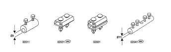 Дырочные (сквозные) соединения 2xM8x10, Ø 9 mm, проволока  Ø 5-8 mm, медь/латунь