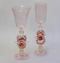 Свадебные фужеры. Венецианское стекло. Ручная работа