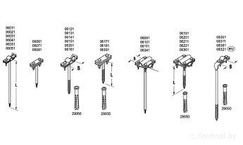 Универсальные держатели L= 8 cm, B до 30 mm, вбивающийся, проволока Ø 5-12 mm, серия Silver