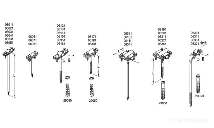 Универсальные держатели, L=12 cm,  B до 20 mm, вбивающийся, проволока Ø 5-12 mm, серия Silver