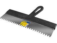 Шпатель зубчатый нержавеющий, с пластмассовой ручкой Dexx 10089-45-06 (зуб 6х6мм, 450мм)