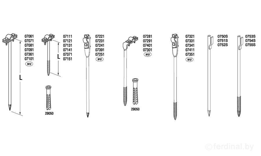 Держатель проволоки L=25 cm, вбиваемый, проволока Ø 5-10 mm, медь/латунь