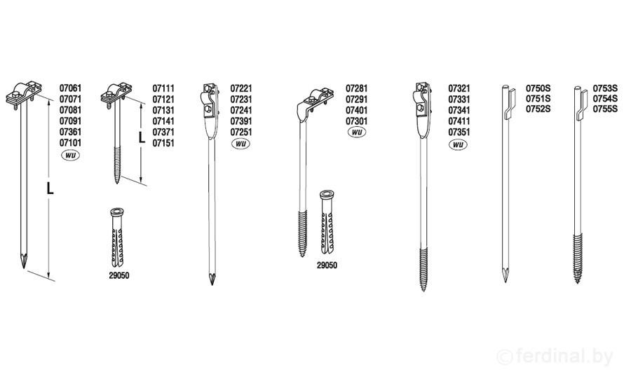 Держатель проволоки L=25 cm, вбиваемый, проволока Ø 5-10 mm, сталь нерж.